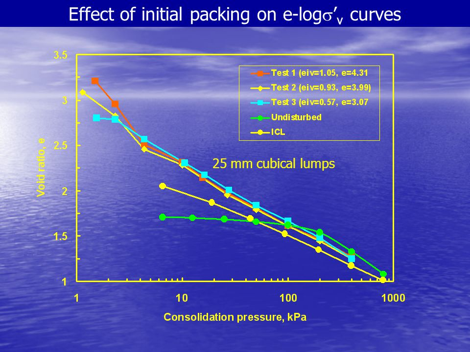 Effect of initial packing on e-logs'v curves