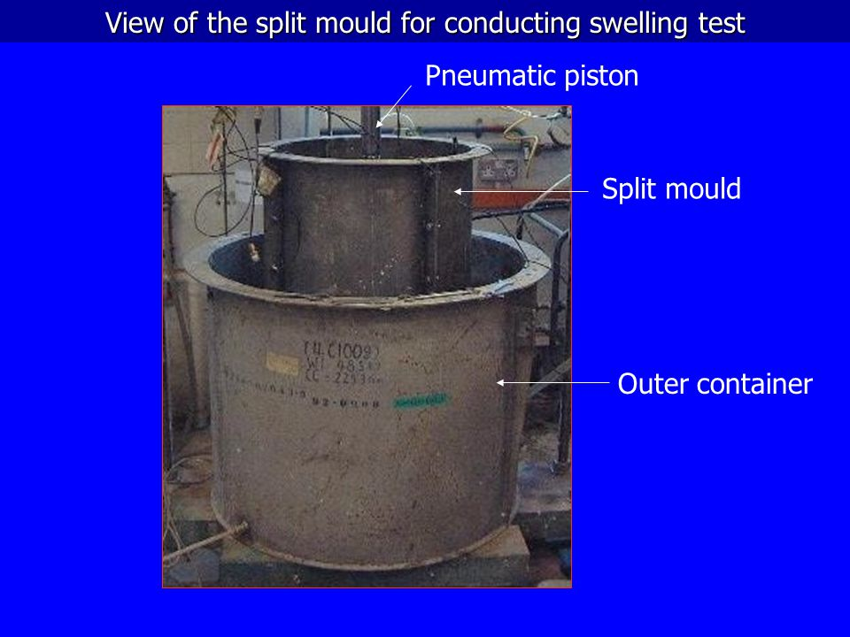 View of the split mould for conducting swelling test