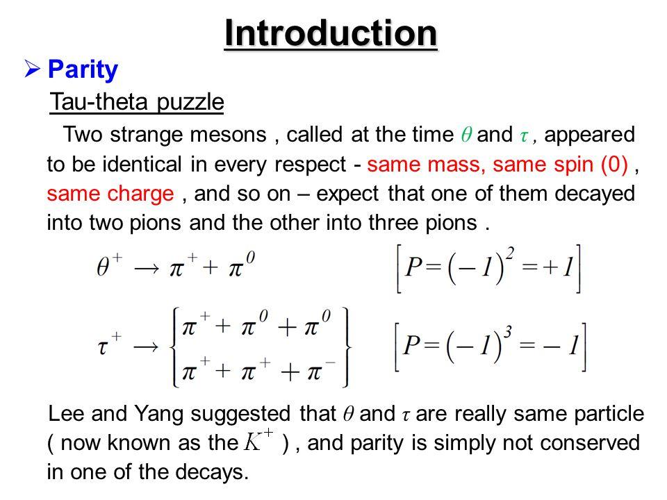 Introduction Parity Tau-theta puzzle