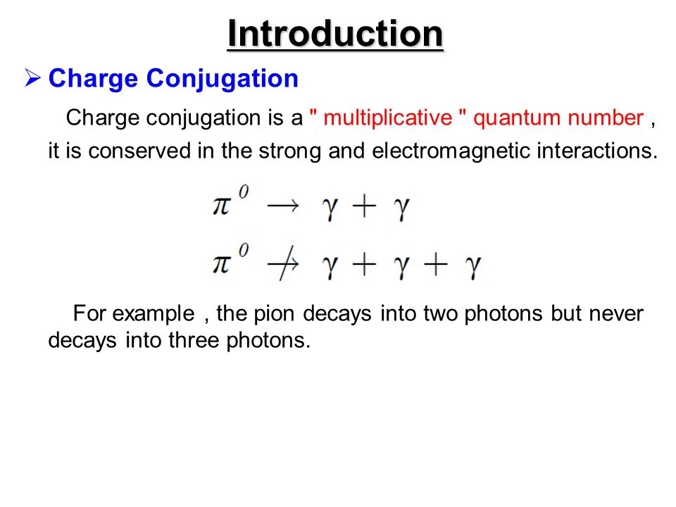 Introduction Charge Conjugation