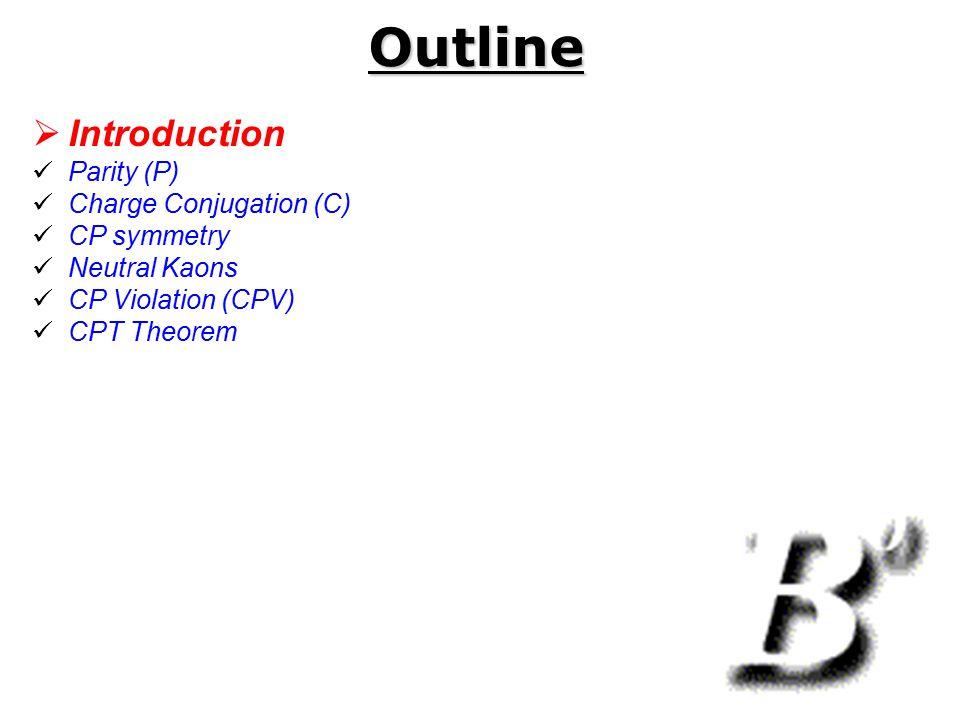 Outline Introduction Parity (P) Charge Conjugation (C) CP symmetry