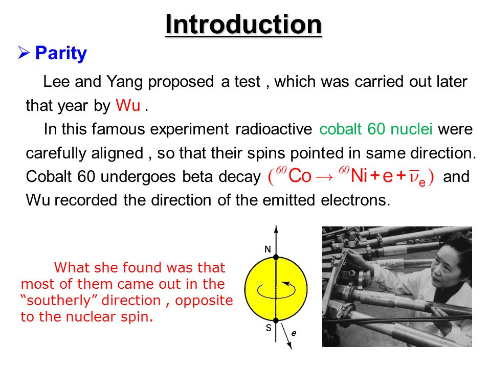 Introduction Parity. Lee and Yang proposed a test , which was carried out later. that year by Wu .