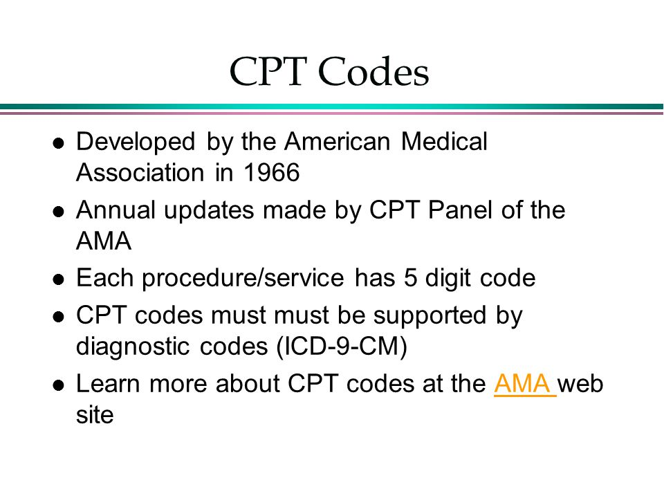 CPT Codes Developed by the American Medical Association in 1966