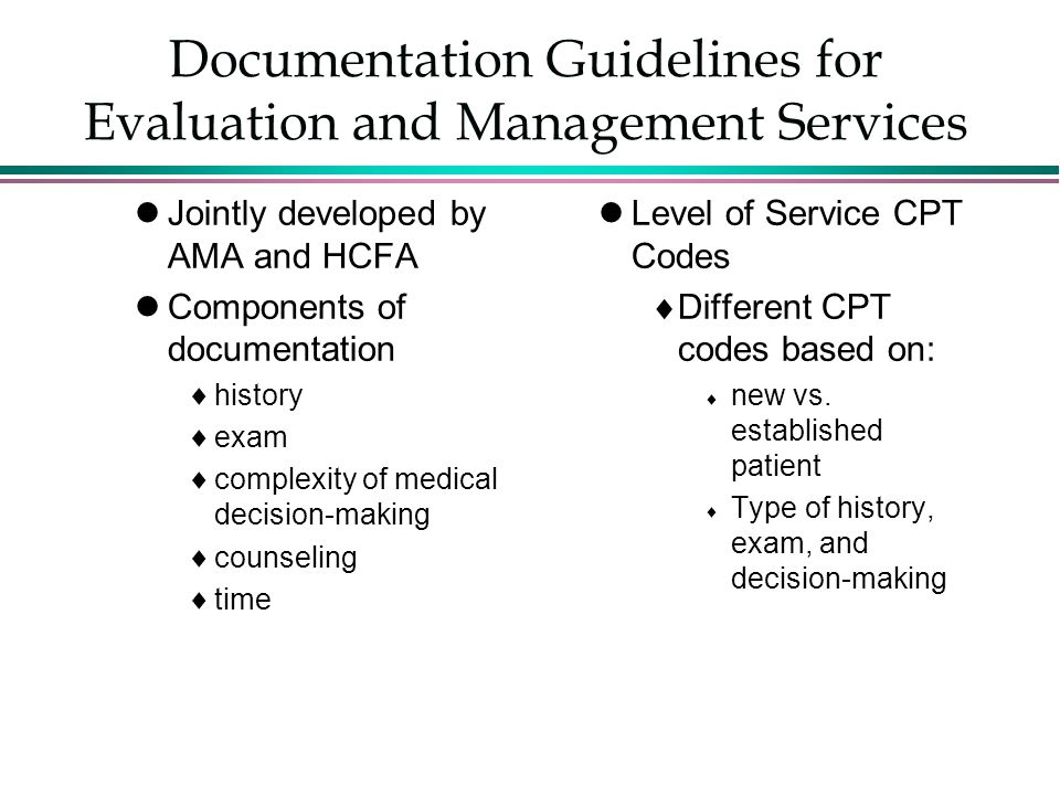 Documentation Guidelines for Evaluation and Management Services