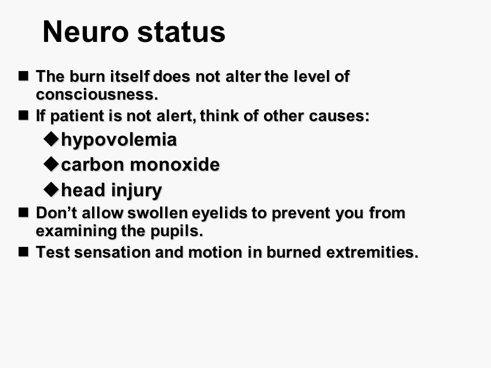 Neuro status hypovolemia carbon monoxide head injury