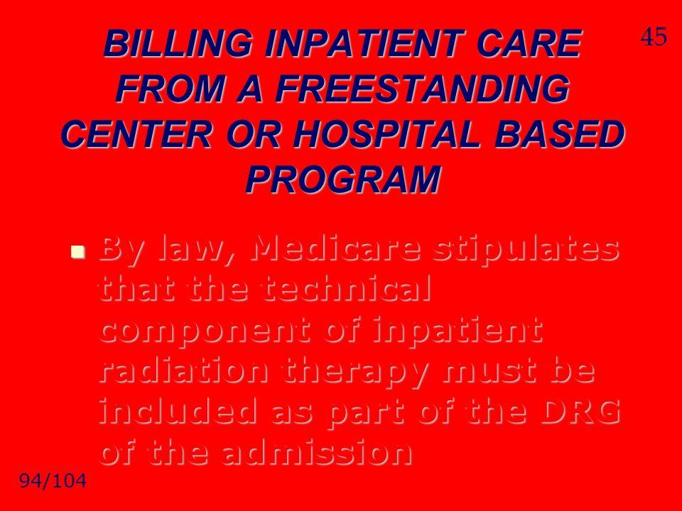 45 BILLING INPATIENT CARE FROM A FREESTANDING CENTER OR HOSPITAL BASED PROGRAM.