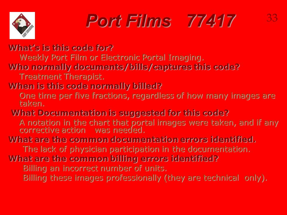Port Films 77417 33 What's is this code for