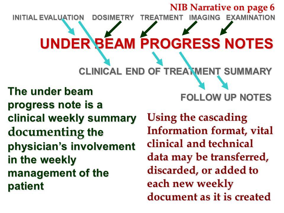 UNDER BEAM PROGRESS NOTES