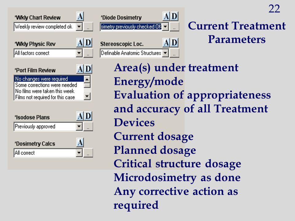 Current Treatment Parameters