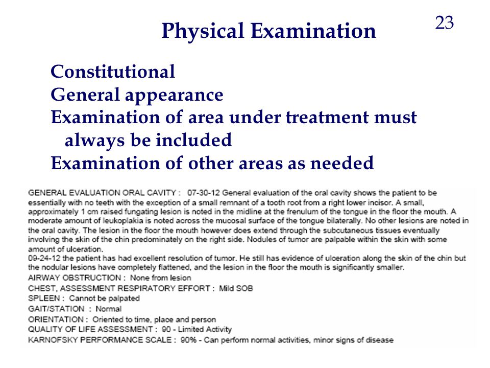 Physical Examination 23 Constitutional General appearance