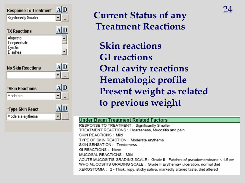 24 Current Status of any. Treatment Reactions. Skin reactions. GI reactions. Oral cavity reactions.
