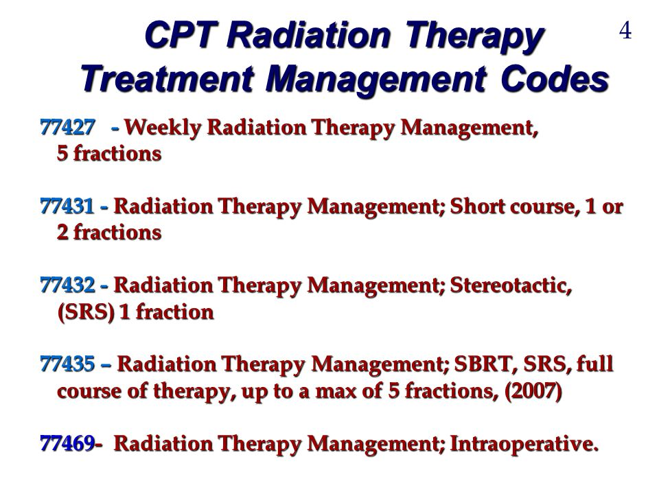 CPT Radiation Therapy Treatment Management Codes