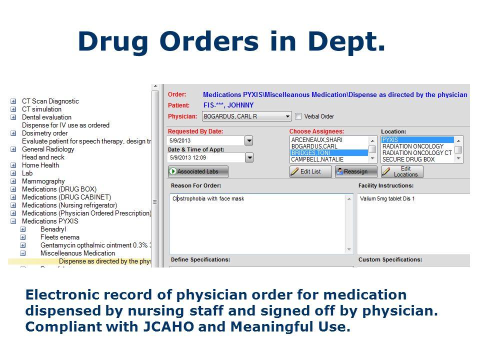 Drug Orders in Dept.