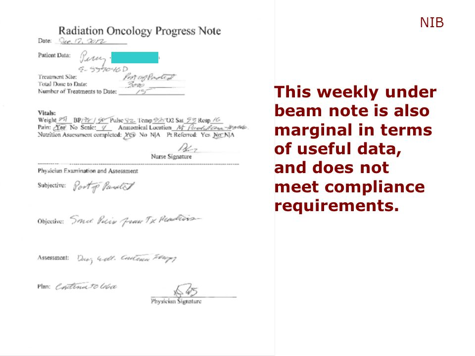NIB This weekly under beam note is also marginal in terms of useful data, and does not meet compliance requirements.