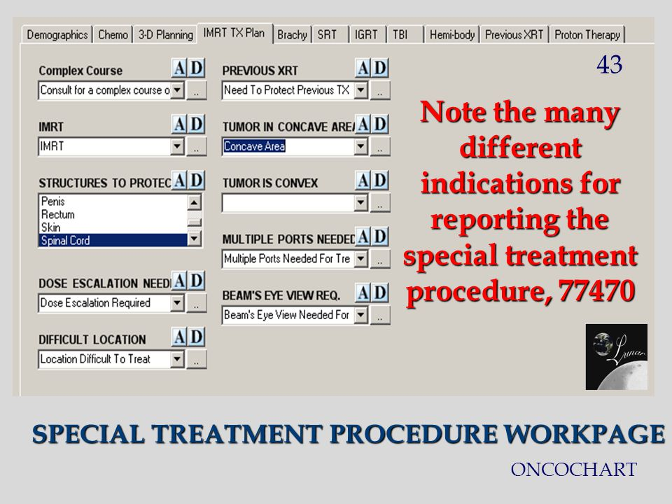 SPECIAL TREATMENT PROCEDURE WORKPAGE