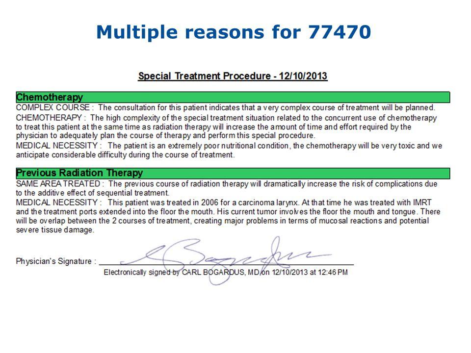 Multiple reasons for 77470