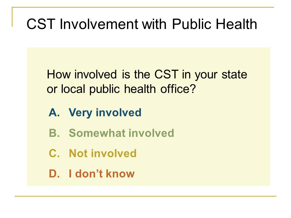 CST Involvement with Public Health