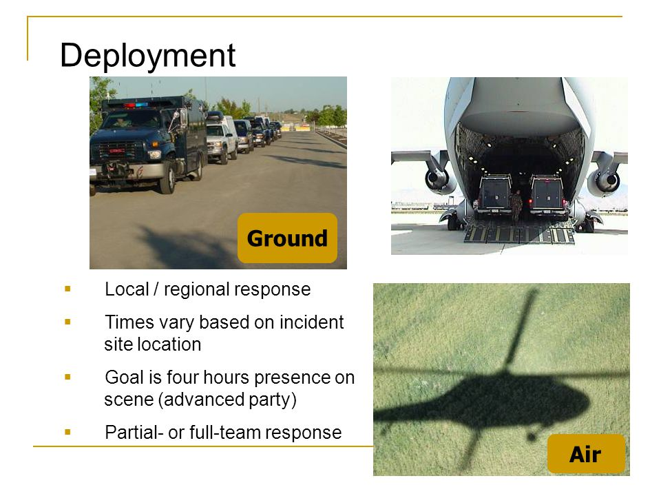 Deployment Ground Air Local / regional response