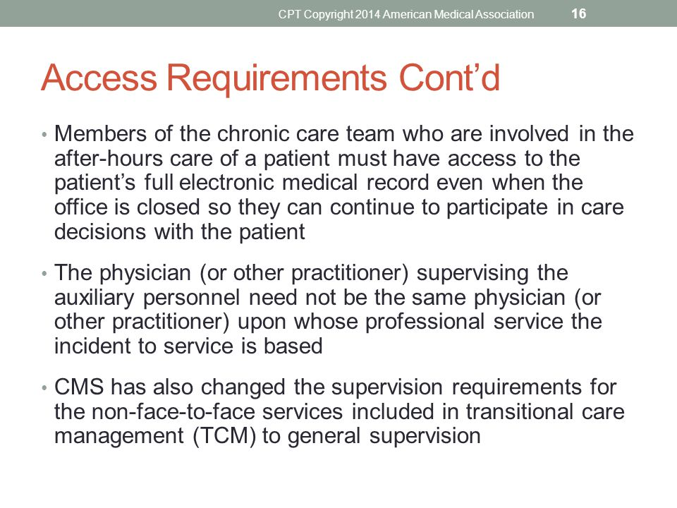 Access Requirements Cont'd