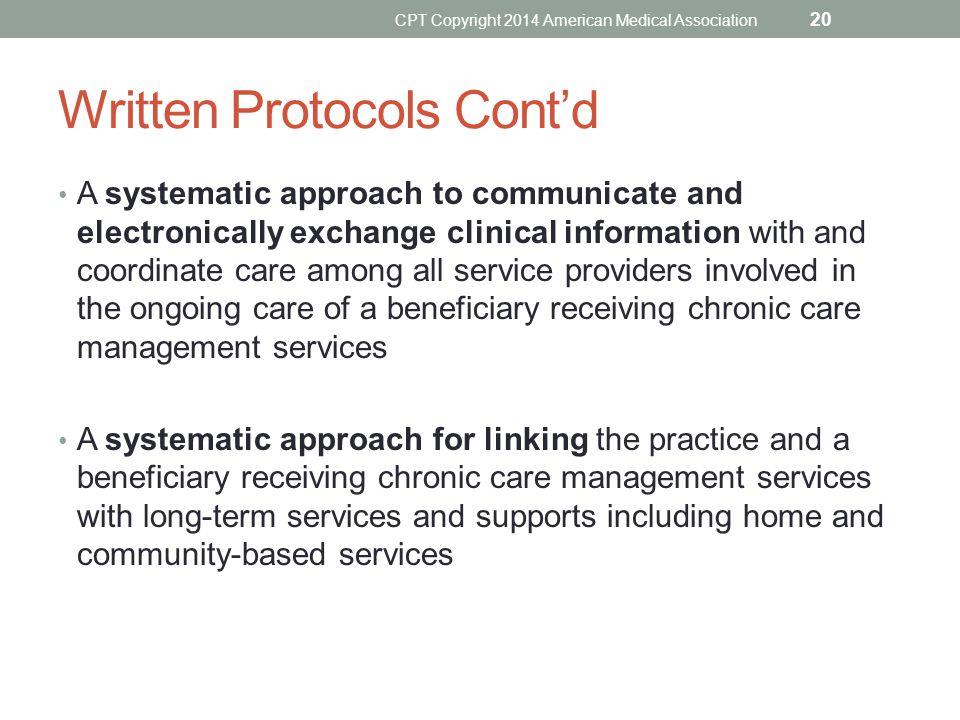 Written Protocols Cont'd