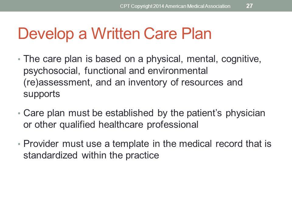 Develop a Written Care Plan