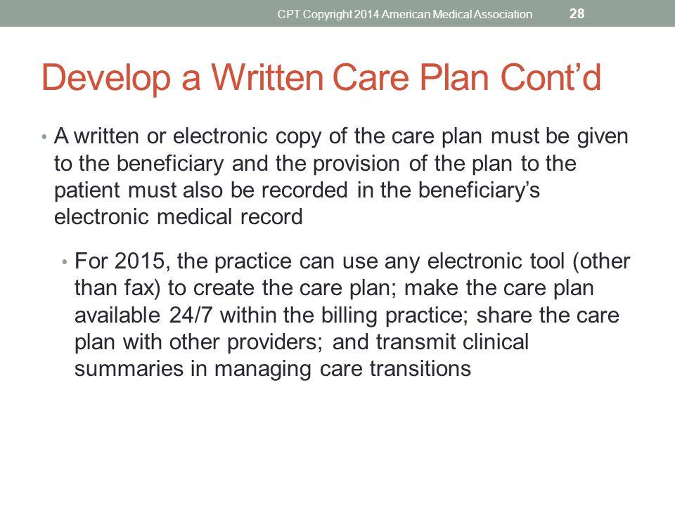 Develop a Written Care Plan Cont'd