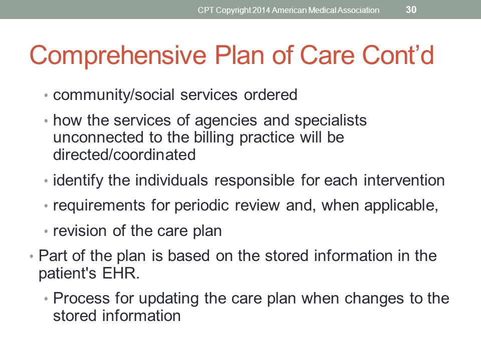 Comprehensive Plan of Care Cont'd
