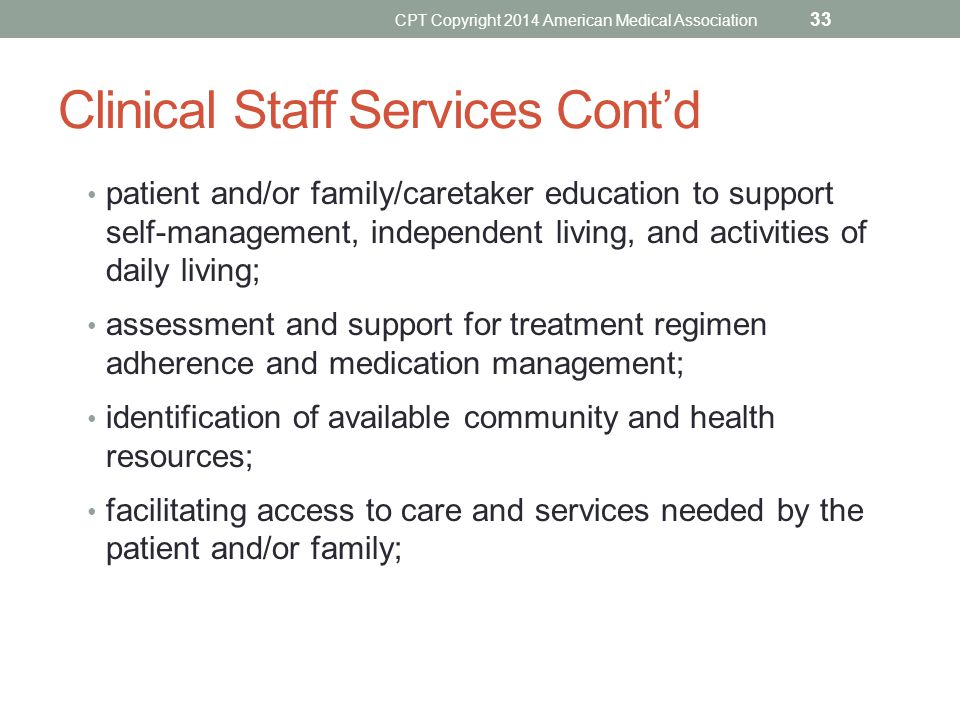 Clinical Staff Services Cont'd