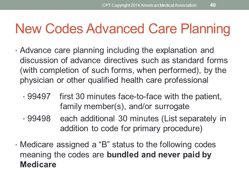 New Codes Advanced Care Planning