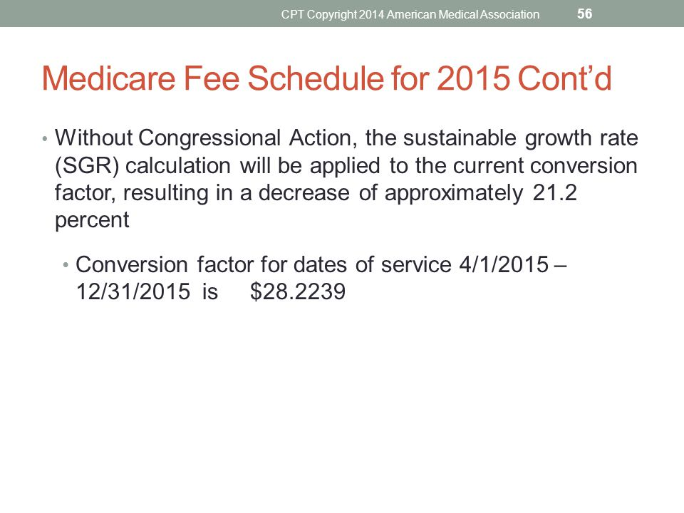 Medicare Fee Schedule for 2015 Cont'd