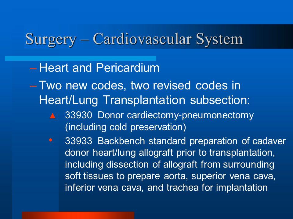 Surgery – Cardiovascular System