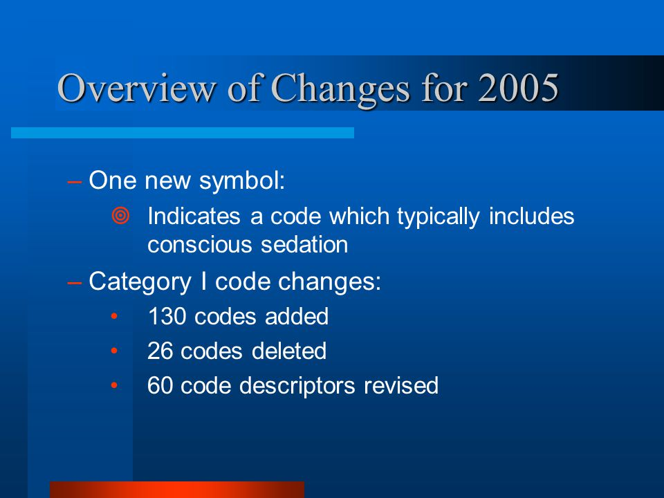 Overview of Changes for 2005