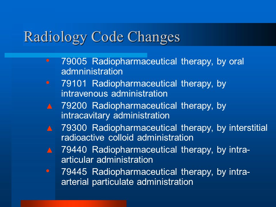 Radiology Code Changes
