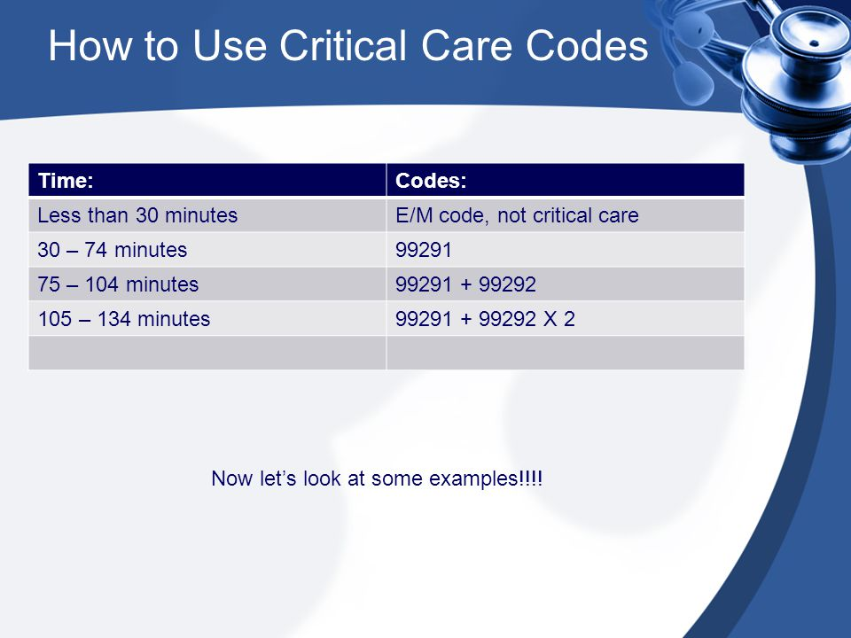How to Use Critical Care Codes