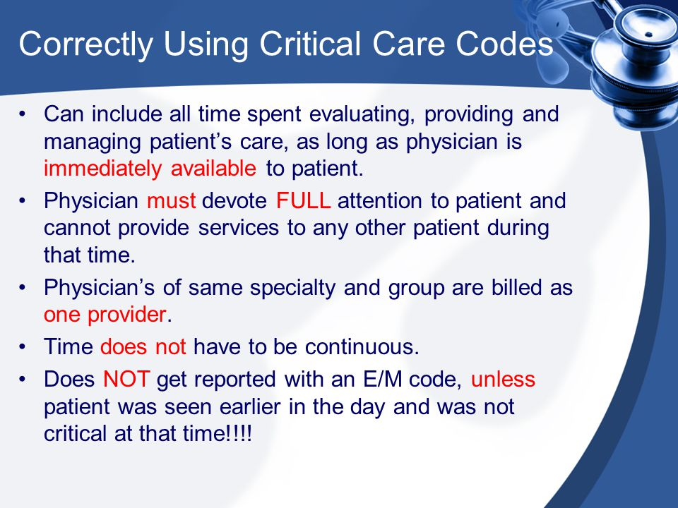 Correctly Using Critical Care Codes