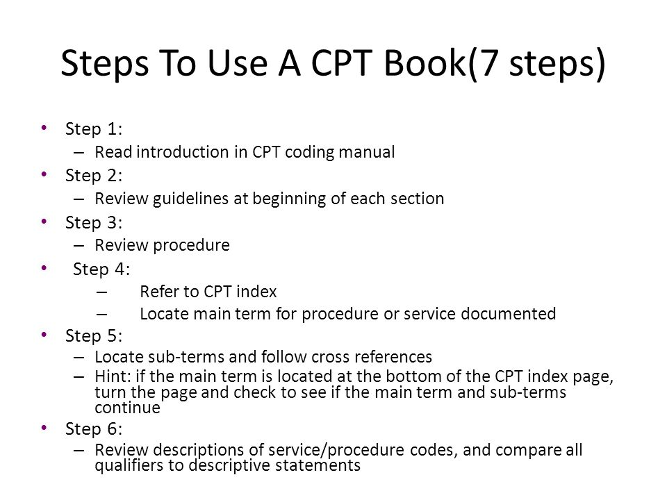 Steps To Use A CPT Book(7 steps)