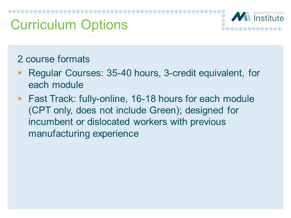 Curriculum Options 2 course formats