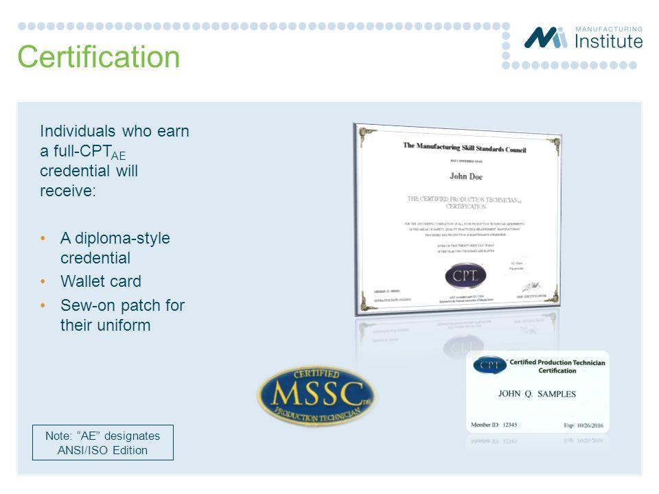 Note: AE designates ANSI/ISO Edition