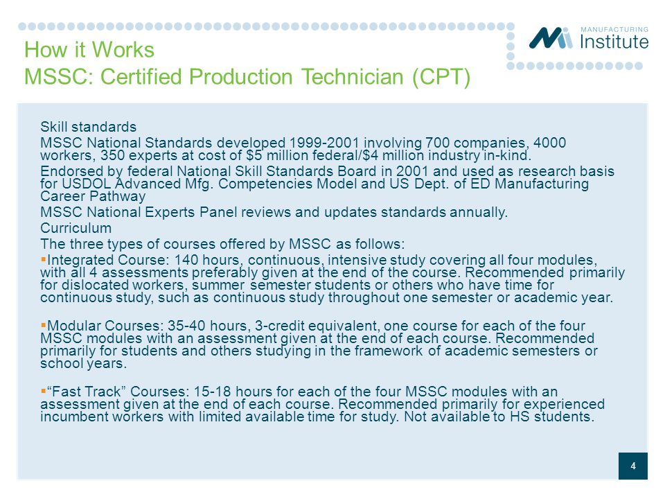 How it Works MSSC: Certified Production Technician (CPT)