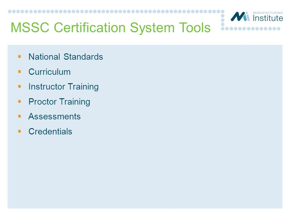 MSSC Certification System Tools
