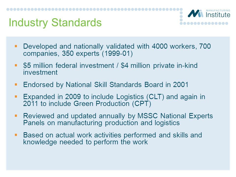 Industry Standards Developed and nationally validated with 4000 workers, 700 companies, 350 experts (1999-01)