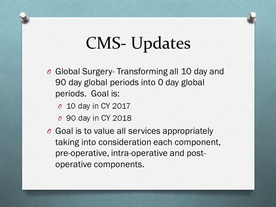 CMS- Updates Global Surgery- Transforming all 10 day and 90 day global periods into 0 day global periods. Goal is: