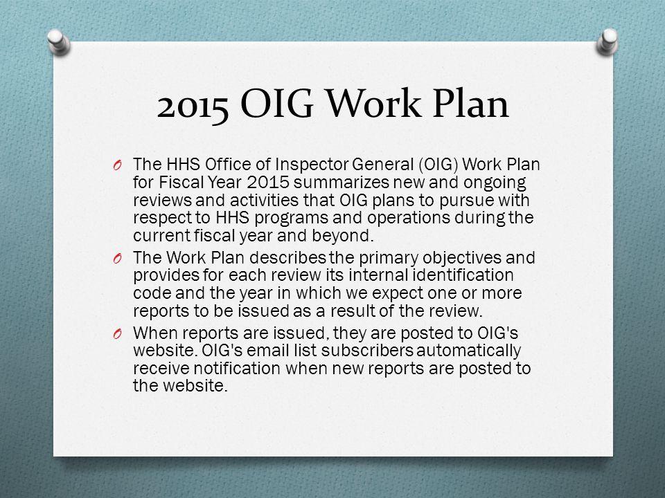 2015 OIG Work Plan