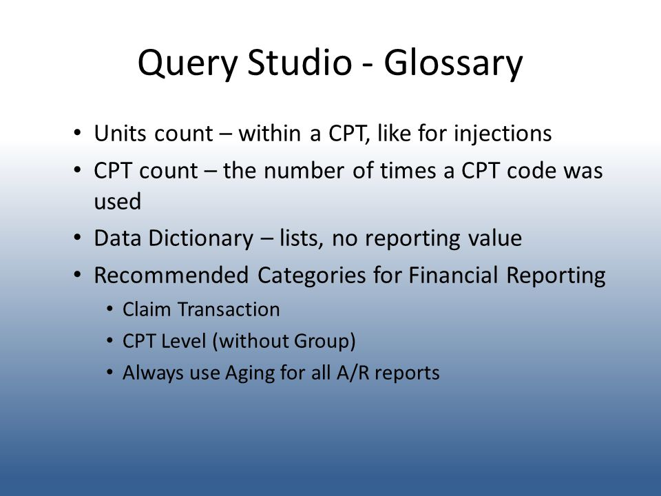 Query Studio - Glossary