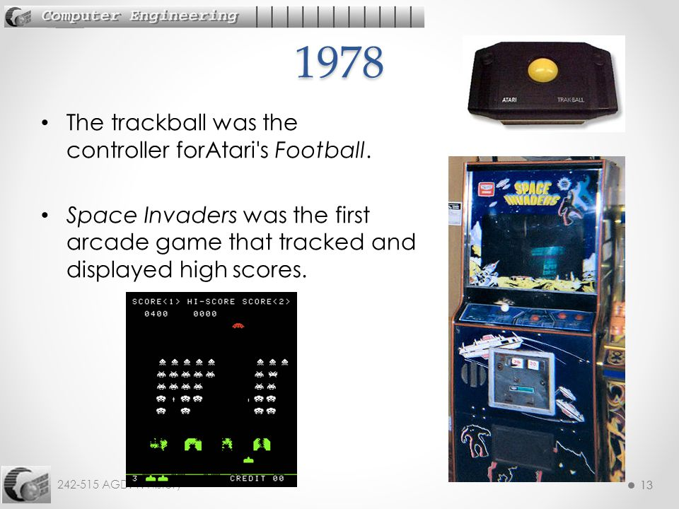 1978 The trackball was the controller forAtari s Football.