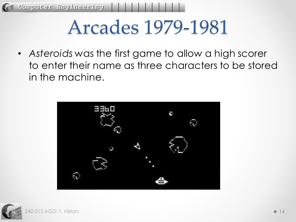 Arcades 1979-1981 Asteroids was the first game to allow a high scorer to enter their name as three characters to be stored in the machine.