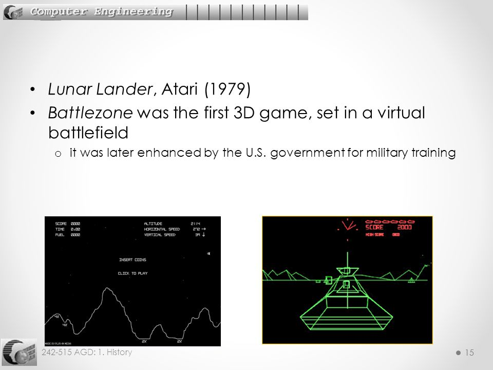 Battlezone was the first 3D game, set in a virtual battlefield