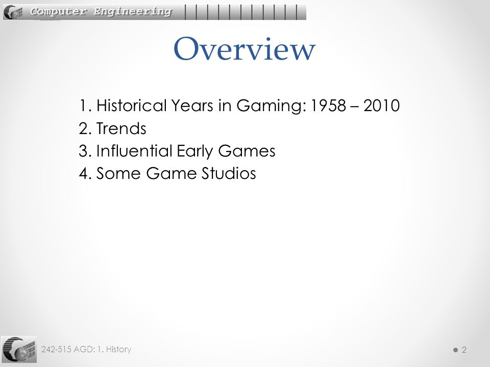 Overview 1. Historical Years in Gaming: 1958 – 2010 2.
