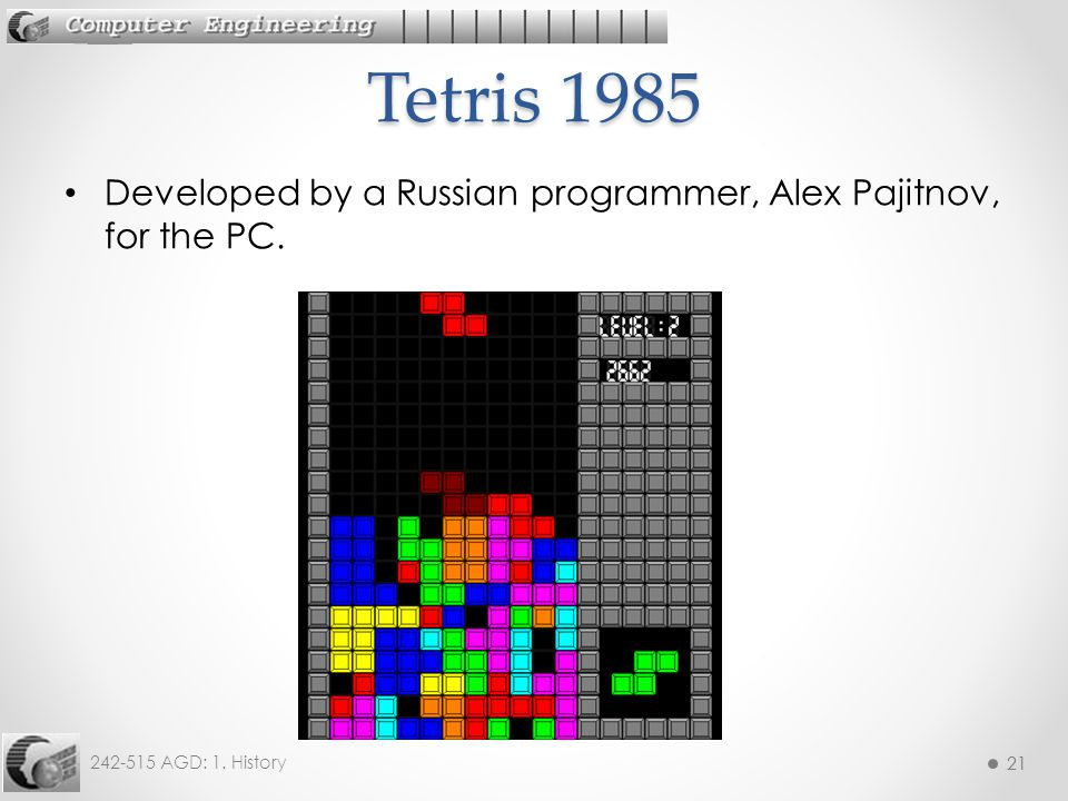 Tetris 1985 Developed by a Russian programmer, Alex Pajitnov, for the PC.