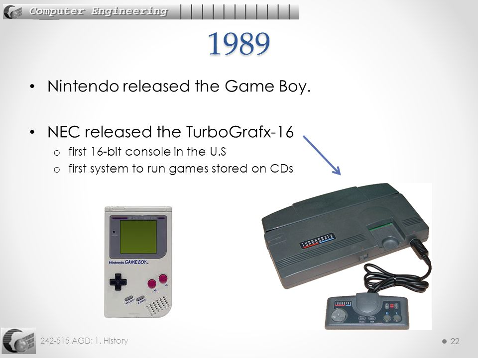 1989 Nintendo released the Game Boy. NEC released the TurboGrafx-16